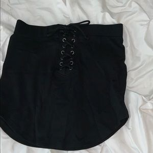"""Black """"corset"""" mini skirt"""